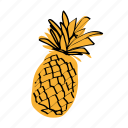 ananas, pinapple, tropical fruit, yellow icon
