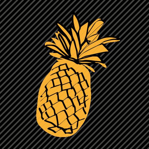 ananas, pinapple, tropical fruit, yellow icon