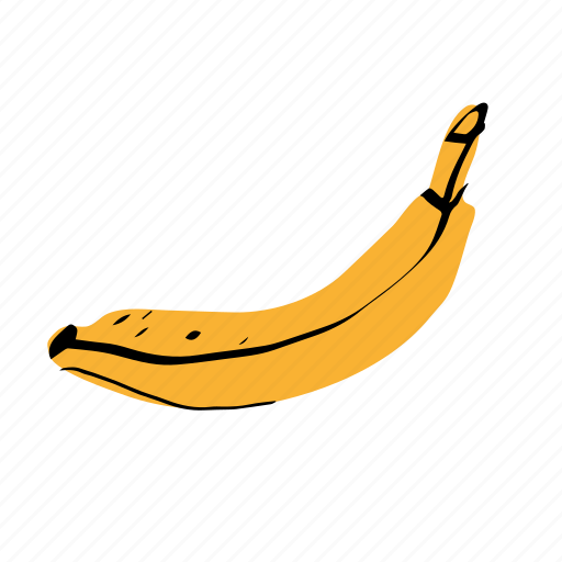 banana, tropical fruit, yellow icon