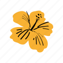 ibisco, tropical flower, yellow icon