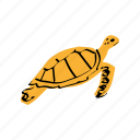 sea turtle, swimming, tropical animal, tropical sea, turtle, yellow icon