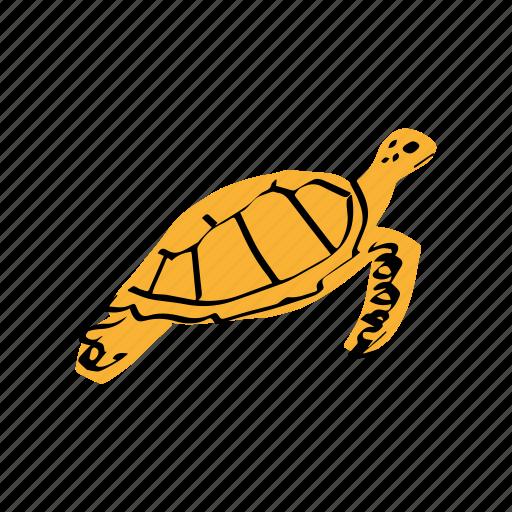 sea turtle, swimming, tropical animal, tropical sea, turtle, yellow icon