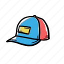 hand drawn, hat, trucker icon