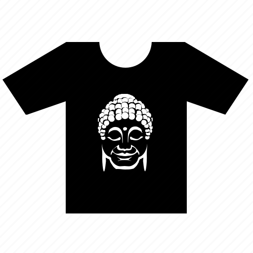 buddha, face, head, print, smiley, tshirt, wear icon