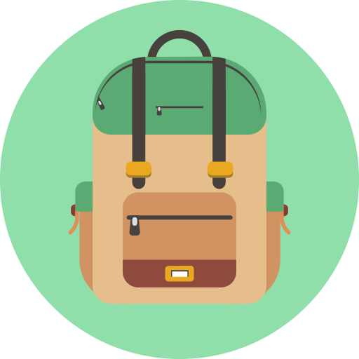 backpack, organized backpack, school backpack, school bag icon