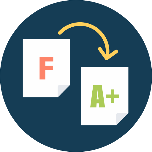A+ test, f to a, f to a+, tutor, tutor helps improve grade icon - Free download