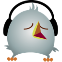 bird, headphones, twitter icon