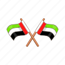 cartoon, country, flag, nation, national, sign, uae icon