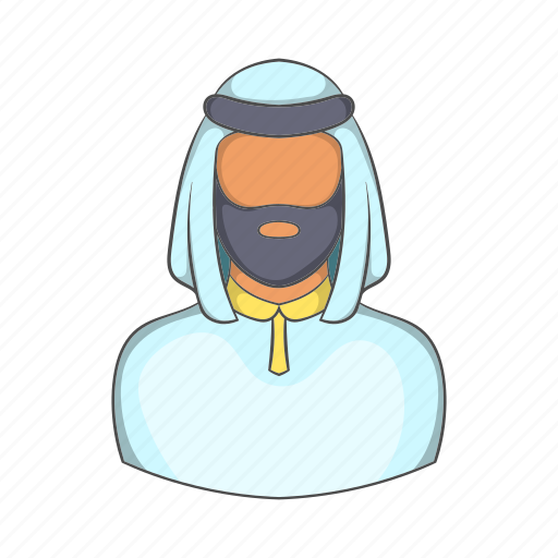 arab, cartoon, islam, male, man, saudi, sign icon
