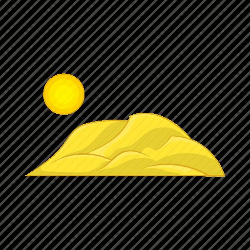 cartoon, hot, mountain, sand, sign, sun, sunlight icon