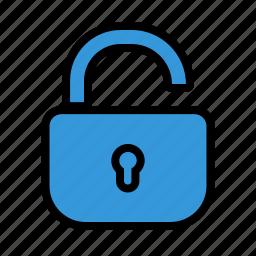 open, padlock, protection, safety, unlock icon
