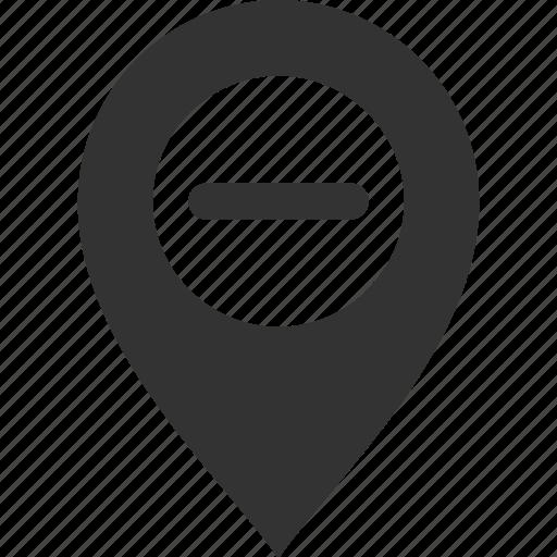 delete, location, map, minus, pin, pointer, remove icon