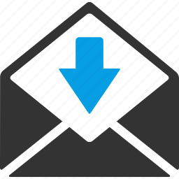 down arrow, envelope, incoming mail, letter, mail, message, received mail icon