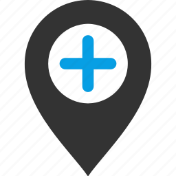 add, location, map, new, pin, plus, pointer icon