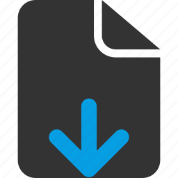 document, down arrow, download file, file, page, sheet icon