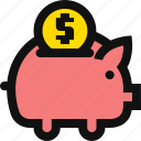 coin, deposit, dollar, financial, money, piggy bank, savings icon
