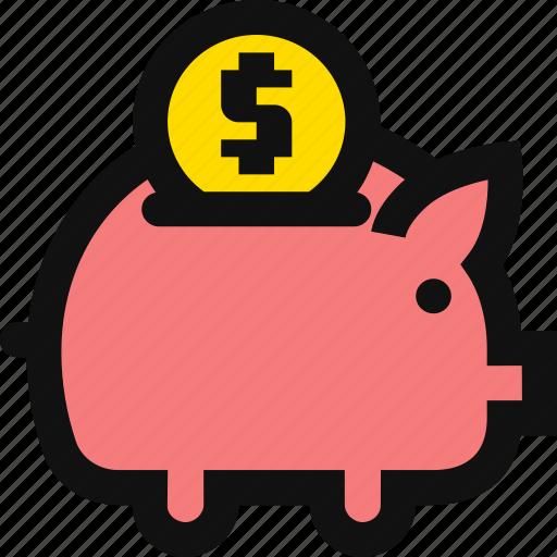 coin, deposit, dollar, financial, money, piggy bank, savings icon
