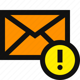 alert, alert mail, caution, email, message, spam, warning icon