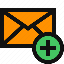 add, add email, add mail, email plus, envelope, new email icon