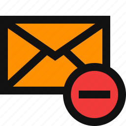cancel email, delete, delete email, minus, remove, remove email, subtract email icon