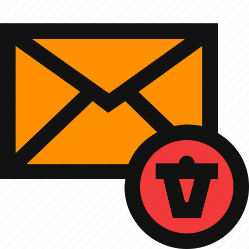 cancel email, delete email, email, remove, trash icon
