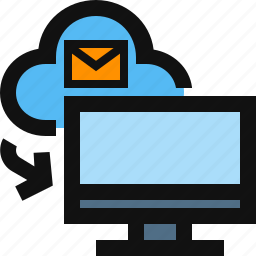 cloud, cloud to computer, computer, email, import from cloud icon