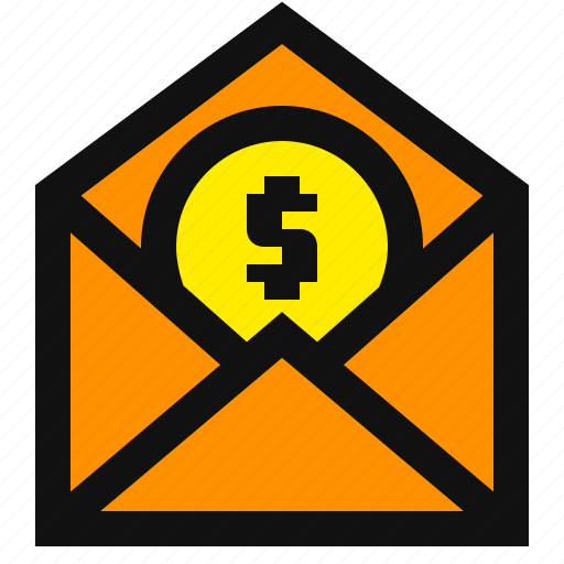dollar, email marketing, email money, gift card, invoice, pay, send payment icon