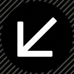 arrow, down, down left, left icon icon