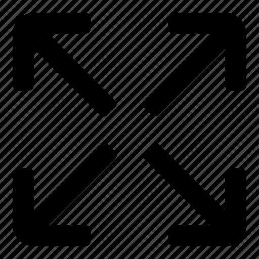 Fullscreen, move, arrows, enlarge, zoom, maximize, expand icon