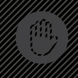 error, halt, hand, stop, wait, warning icon