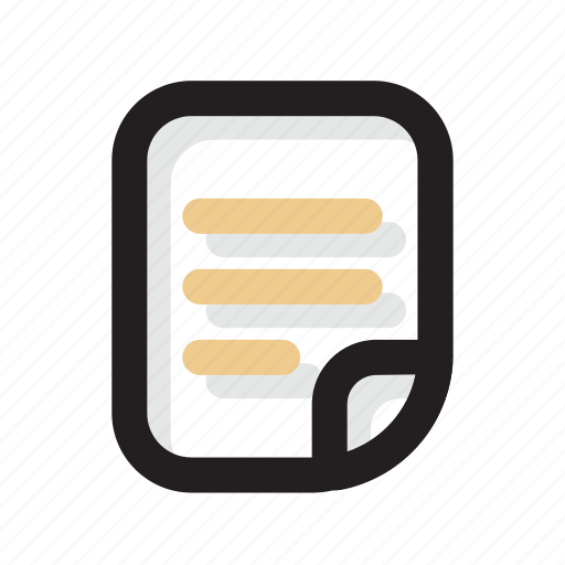 document, file, folding, gold, line, shadow, ui icon