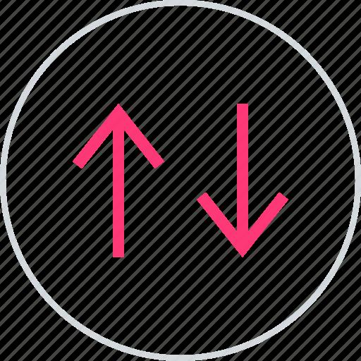activity, down, menu icon