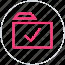 check, confirmed, folder icon