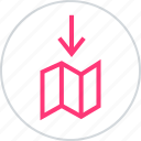 arrow, down, map, online icon