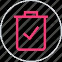 check, confirmed, mark, trach icon