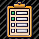 checklist, chek, clipboard, list, work icon