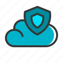 cloud, cloud protection, security, server, shield, ui, ux icon