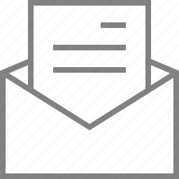 email, envelope, letter, mail, message, open, text icon
