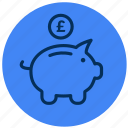 bank, money, piggy, £ icon