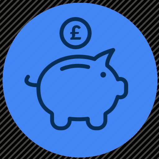 bank, money, piggy, £ icon