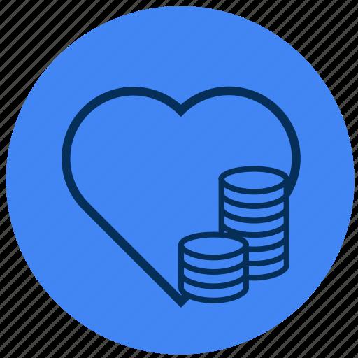heart, love, money icon