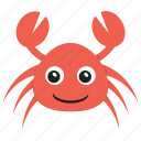 cartoon crab, crab, sea life, seafood, zodiac sign icon
