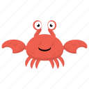 cartoon crab, sea life, seafood, zodiac sign icon