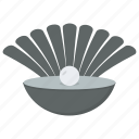mollusc, mollusk, opened shell, oyster seashell, seashell pearl icon