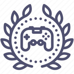 achievement, award, badge, game, joystick, play, wreath icon