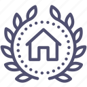 achievement, award, badge, building, home, house, wreath icon