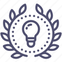 achievement, award, badge, creative, idea, light, wreath icon