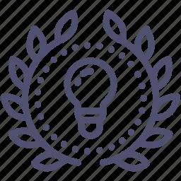 achievement, award, badge, creative, idea, light, wreath icon
