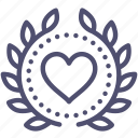 achievement, award, badge, heart, love, valentine, wreath icon
