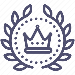 achievement, award, badge, crown, king, royal, wreath icon